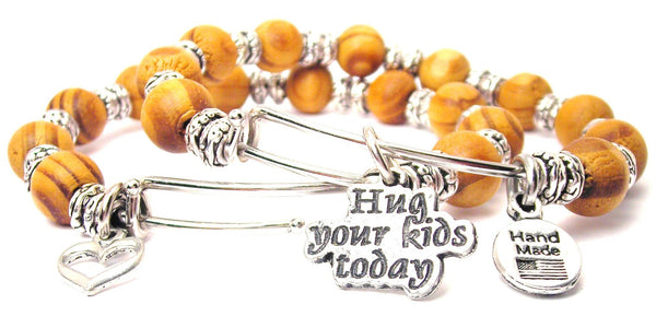 Hug Your Kids Today Natural Wood Double Bangle Set