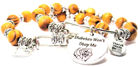 Diabetes Wont Stop Me Today Natural Wood Double Bangle Set