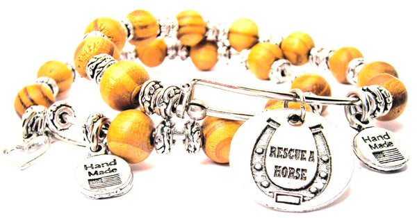 Rescue A Horse Natural Wood Double Bangle Set