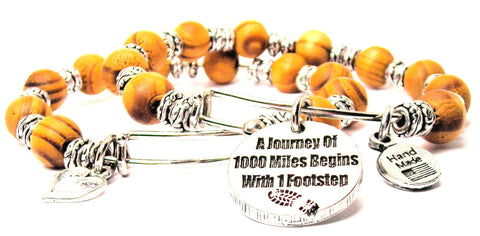 A Journey Of 1000 Miles Begins With One Step Natural Wood Double Bangle Set