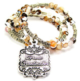 Great Grandmother Victorian Scroll Agate Stone Microcrystalline Quartz Wrap Bracelet