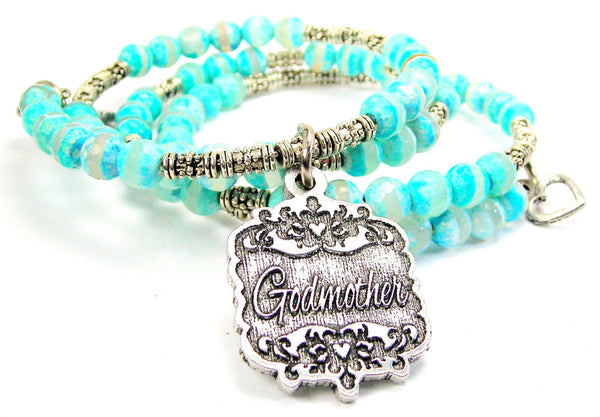 Godmother Victorian Scroll Agate Stone Microcrystalline Quartz Wrap Bracelet