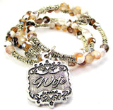 Wife Victorian Scroll Agate Stone Microcrystalline Quartz Wrap Bracelet