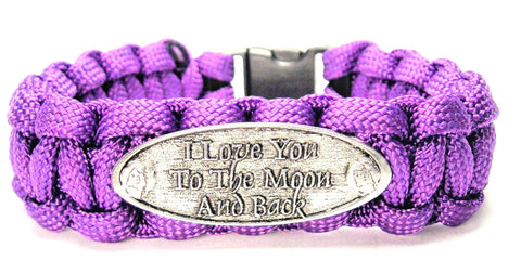 I Love You To The Moon And Back Raised 550 Military Spec Paracord Bracelet