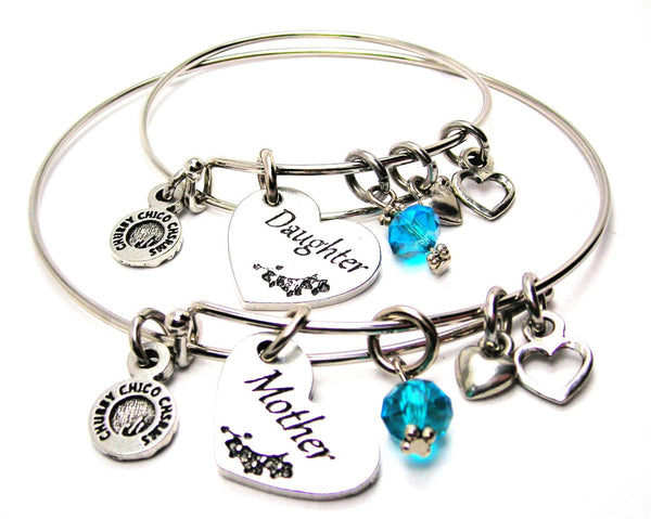 Mother and Daughter Gift Set, Mother Bangle, Mother Bracelet, Mother Jewelry, Daughter Bangle, Daughter Bracelet, Daughter Jewelry