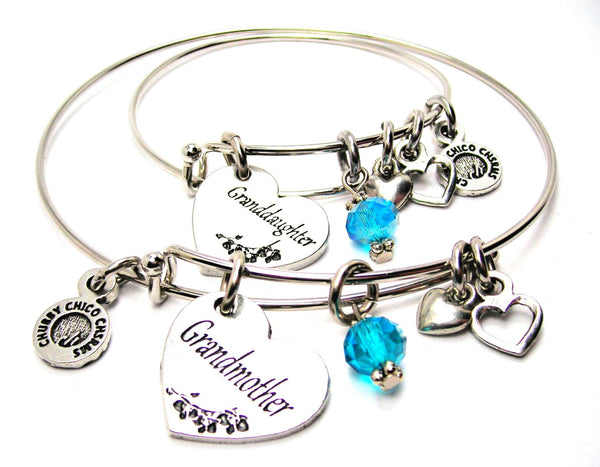 Grandmother and Granddaughter Gift Set, Grandmother Bangle, Grandmother Bracelet, Grandmother Jewelry, Granddaughter Bangle, Granddaughter Bracelet, Granddaughter Jewelry