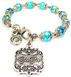 YaYa Victorian Scroll Capped Crystal Bracelet
