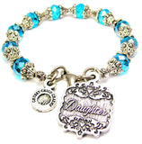 Daughter Victorian Scroll Capped Crystal Bracelet