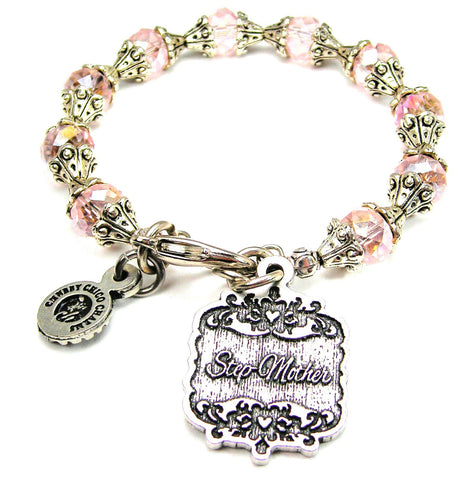 Step-Mother Victorian Scroll Capped Crystal Bracelet