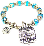 Oma Victorian Scroll Capped Crystal Bracelet