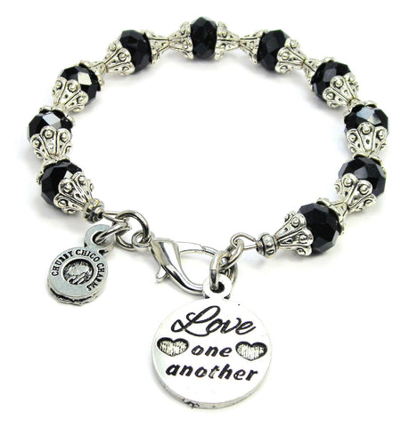 Love One Another Capped Crystal Bracelet