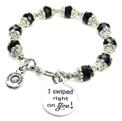 I Swiped Right On You! Capped Crystal Bracelet