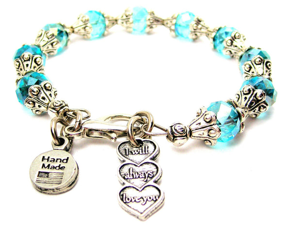 I Will Always Love You Triple Hearts Capped Crystal Bracelet