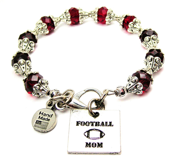 Football Mom Capped Crystal Bracelet