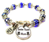 Swim Team Mom Capped Crystal Bracelet
