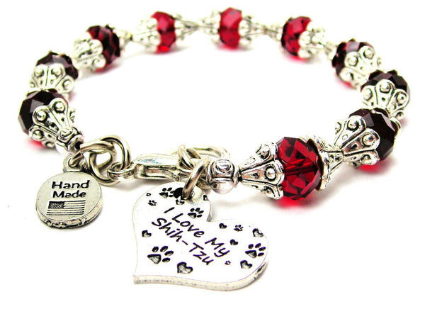 I Love My Shih Tzu Capped Crystal Bracelet