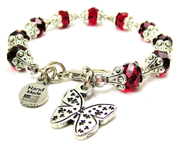 Butterfly Covered In Puzzle Pieces Capped Crystal Bracelet