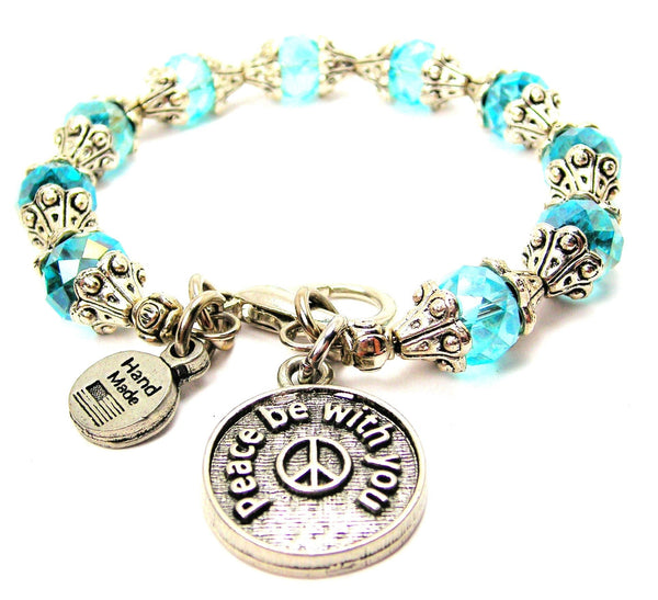 Peace Be With You Capped Crystal Bracelet