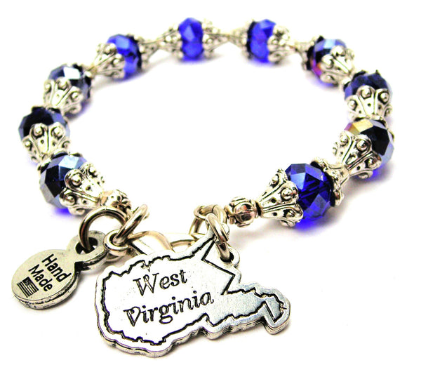 West Virginia Capped Crystal Bracelet