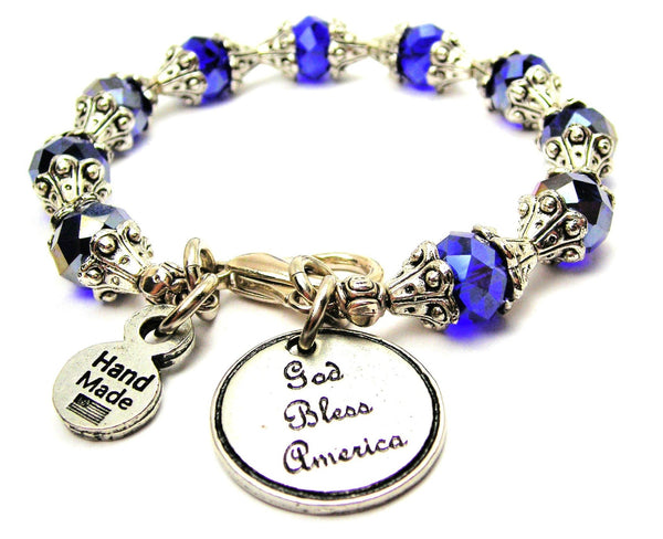 God Bless America Capped Crystal Bracelet