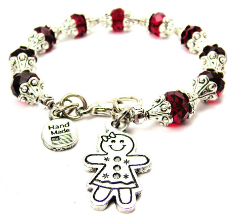 Gingerbread Girl Cookie Charm Capped Crystal Bracelet