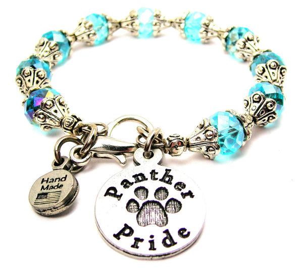 Panther Pride Circle Capped Crystal Bracelet