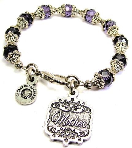 Mother Victorian Scroll Capped Crystal Bracelet