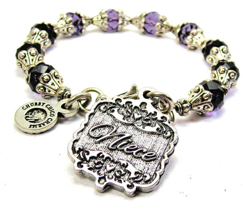 Niece Victorian Scroll Capped Crystal Bracelet