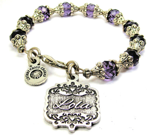 Lola Victorian Scroll Capped Crystal Bracelet