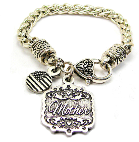 Mother Victorian Scroll Cable Link Chain Bracelet
