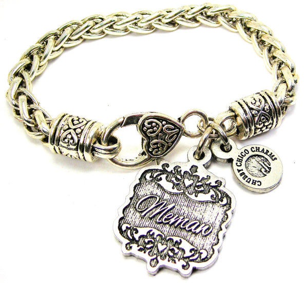 Memaw Victorian Scroll Cable Link Chain Bracelet
