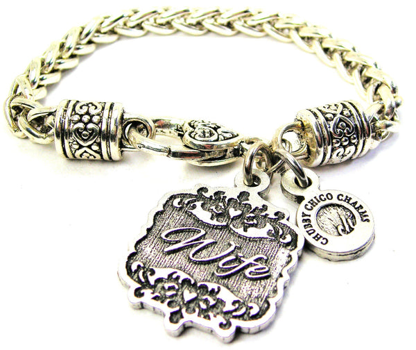 Wife Victorian Scroll Cable Link Chain Bracelet