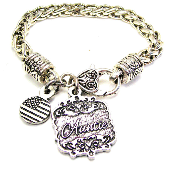 Auntie Victorian Scroll Cable Link Chain Bracelet