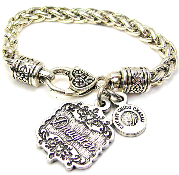 Daughter Victorian Scroll Cable Link Chain Bracelet
