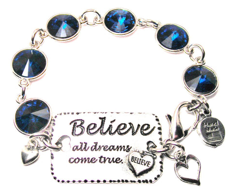 Believe All Dreams Come True Crystal Connector Bracelet