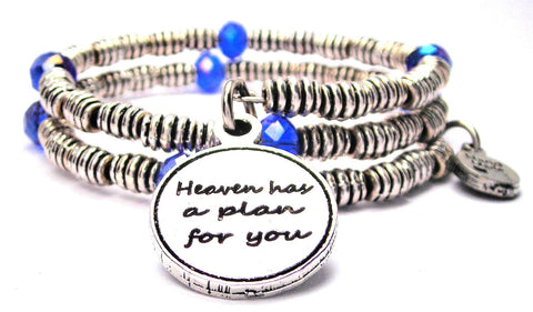 Heaven Has A Plan For You Curly Coil Wrap Style Bangle Bracelet