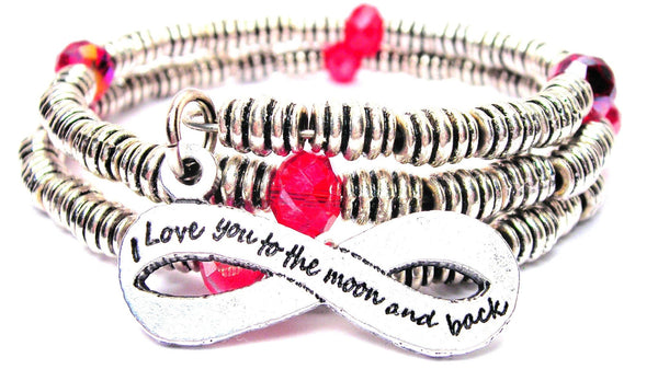 Infinity I Love You To The Moon And Back Curly Coil Wrap Style Bangle Bracelet