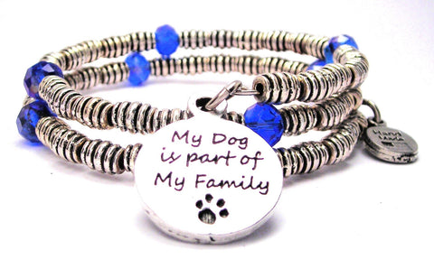My Dog Is Part Of My Family Curly Coil Wrap Style Bangle Bracelet
