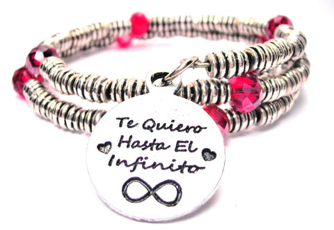 Te Quiero Hasta El Infinito Curly Coil Wrap Style Bangle Bracelet