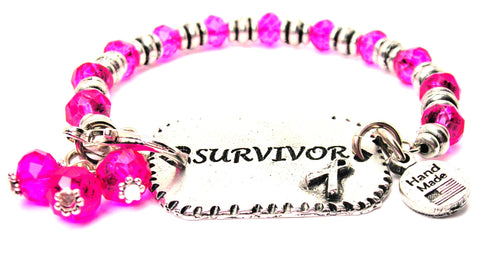 Surivor With Awareness Ribbon Expression Armor Pewter Crystal Bracelet