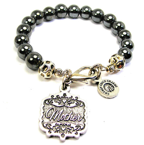 Mother Victorian Scroll Hematite Glass Bracelet