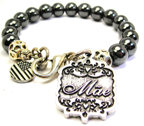 Mae Victorian Scroll Hematite Glass Bracelet