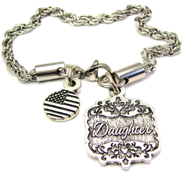 Daughter Victorian Scroll Rope Chain Bracelet