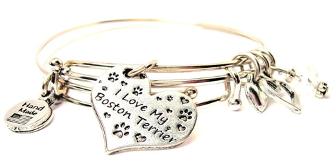 I love my Boston terrier bracelet, I love my Boston terrier bangles, I love my Boston terrier jewelry