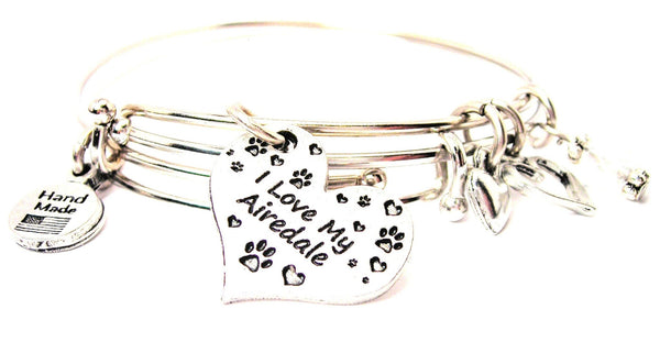 I love my Airedale bracelet, I love my Airedale bangles, I love my Airedale jewelry, Airedale bracelet