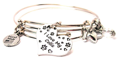I love my collie bracelet, I love my collie bangles, I love my collie jewelry, collie bracelet, collie jewelry