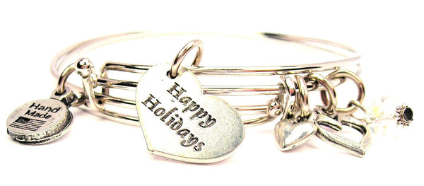 happy holidays bracelet, happy holidays bangles, holiday bracelet, holiday bangles, Christmas bracelet