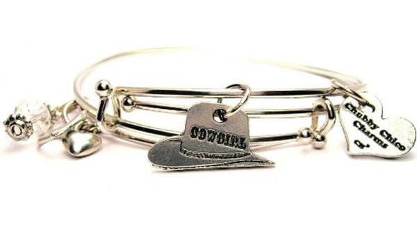 Cowgirl Hat Expandable Bangle Bracelet Set