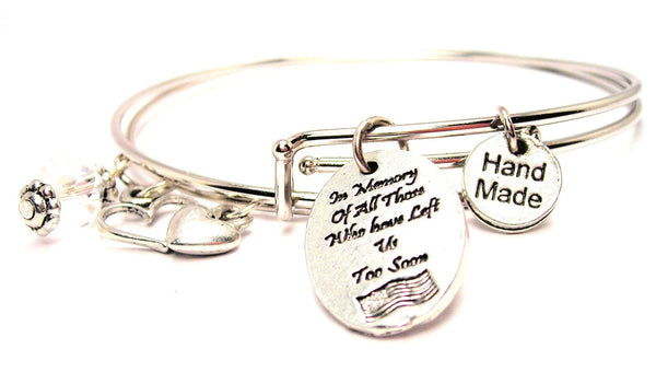 In Memory Of All Those Who Have Left Us Too Soon With American Flag Expandable Bangle Bracelet Set