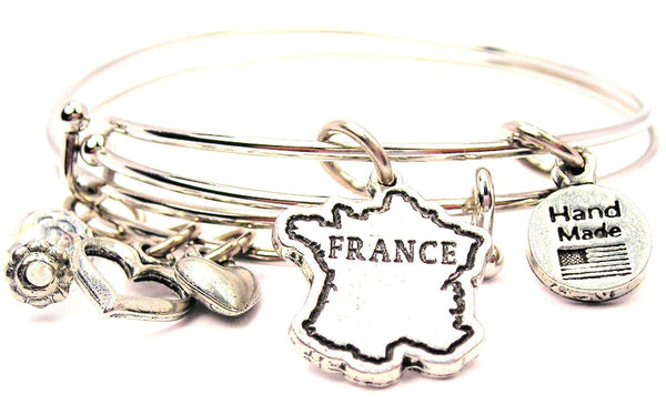 France bracelet, France bangles, France jewelry, French language bracelet, French bracelet